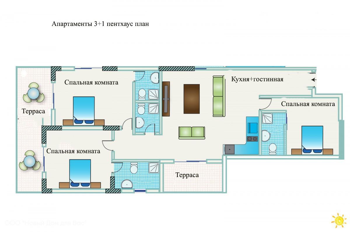 Апартаменты ID 004007 3+1 пентхаус